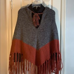 Two Toned Hooded Fringed Poncho